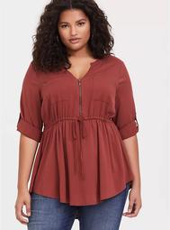 Brick Red Stretch Challis Zip Front Babydoll Tunic