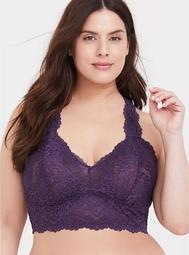 Dark Purple Lace Racerback Bralette