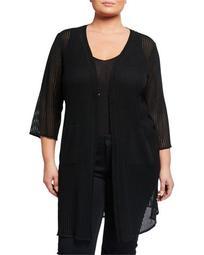 Plus Size 3/4-Sleeve Knit Jacket