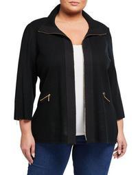 Plus Size 3/4-Sleeve Zip-Front Jacket