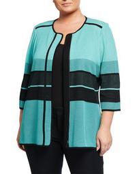 Plus Size Contrast Trim 3/4-Sleeve Jacket