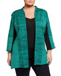 Plus Size Open Front 3/4-Sleeve Jacket