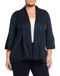 Plus Size Shawl-Collar Striped Jacket