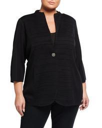 Plus Size Textured Single-Button Jacket