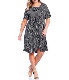 Plus Size Mixed Box Stripe Print Short Sleeve Dress