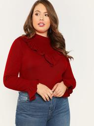 Plus Ruffle Detail Mock Neck Tee
