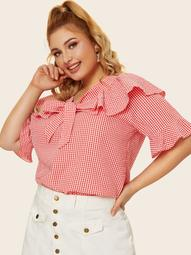 Plus Tie Neck Ruffle Gingham Blouse