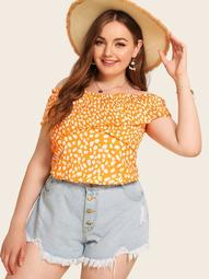 Plus Dalmatian Print Off The Shoulder Shirred Blouse