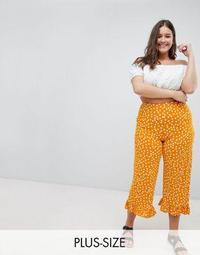 ASOS DESIGN Curve Pants With Fluted Ruffle Hem In Polka Dot