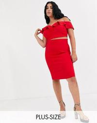 Vesper Plus two-piece midi skirt in red