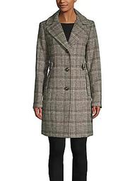 Petite Plaid Wool-Blend Topper Coat