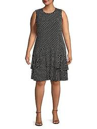 Plus Sleeveless Dotted Ruffle Dress