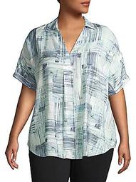 Plus Shoreline Grid Blouse