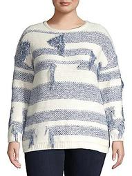 Plus Boat Neck Distressed Knit Sweater