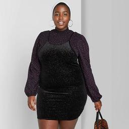 Women's Plus Size Sleeveless U-Neck Rib-Knit Shine Mini Dress - Wild Fable™ Black