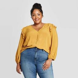 Women's Plus Size Long Sleeve Deep V-Neck Double Ruffle Top - Universal Thread™