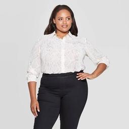 Women's Plus Size Snake Print Long Sleeve Collared Button-Up Blouse - Ava & Viv™ Cream