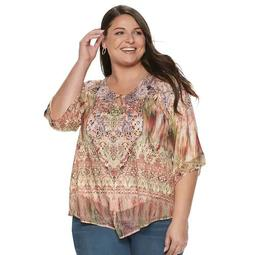 Plus Size World Unity Printed Bell Sleeve Top