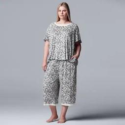 Plus Size Simply Vera Vera Wang Top & Capri Pajama Set
