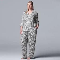 Plus Simply Vera Vera Wang Notch Collar Pajama Set