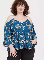 Blue Floral Cold Shoulder Babydoll Blouse