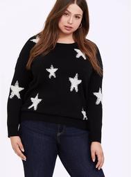 Black & White Textured Star Pullover Sweatshirt