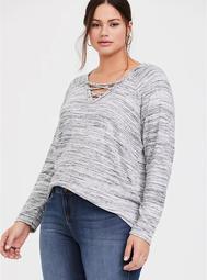 Super Soft Plush Grey Space-Dye Crisscross Hoodie