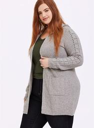 Grey Pointelle Hooded Cardigan