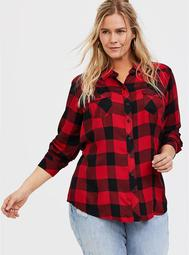 Taylor - Red Plaid Twill Button Front Slim Fit Shirt