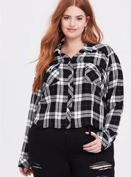 Crop Taylor - Black & White Plaid Button Front Slim Fit Shirt