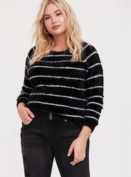 Black & White Stripe Fuzzy Pullover Sweater