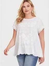 White Embroidered Challis Blouse