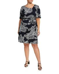 Plus Size Puff Foil Interlock Knit Paisley Wrap Dress