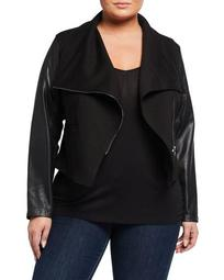 Plus Size Faux-Leather Mix Media Moto Jacket