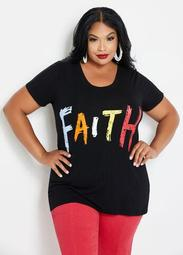 Faith Graphic Tee With Mesh Inset