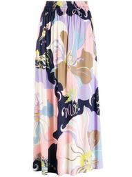 Mirabilis Print Gathered Midi Skirt