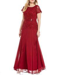 Plus Size Lace Bodice Long Gown