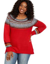 Plus Size Fair Isle Tunic Sweater