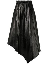 Asymmetrical Shiny Leather Mid Skirt