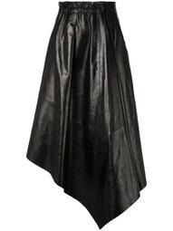 Asymmetrical Shiny Leather Mid Skirt