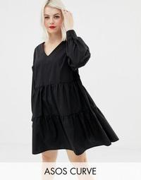 ASOS DESIGN Curve tiered cotton smock mini dress with long sleeves