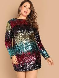 Plus Cut-and-sew Sequin Dress