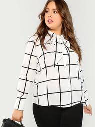 Plus Tie Neck Grid Blouse