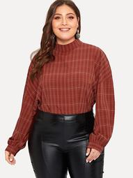 Plus Drop Shoulder Balloon Sleeve Plaid Blouse