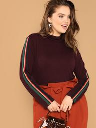 Plus Mock-neck Striped Sleeve Top