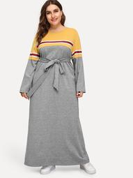 Plus Keyhole Back Self Belted Heather Gray Dress