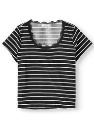 No Comment Juniors' Plus Size Lace Trim T-Shirt