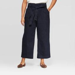 Women's Plus Size Cropped Paperbag Denim Pants - A New Day™ Indigo