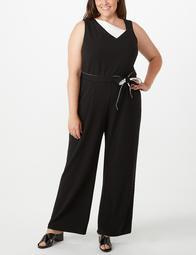 Iconic American Designer Plus Size Colorblock Fold-Neck Jumpsuit