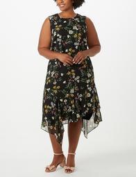 Iconic American Designer Plus Size Floral Asymmetrical-Hem Chiffon Dress